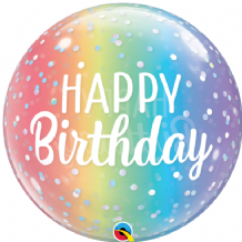 "Birthday Ombre & Dots Bubble Balloon (22"") 1pc"